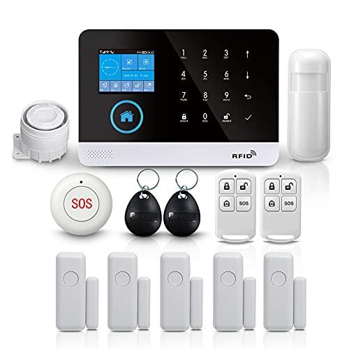 PGST Allarme Wireless Antifurto Casa Senza Fili,10 Kits Smart Wifi Life Dispositivi,with 1 Sirena,5 Sensori Per Porta Finestre,1Sensore di Movimento,2 Telecomandi,1Pulsante SOS (PG103-13 KITS-2G)