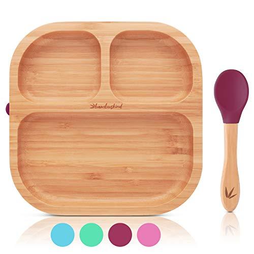 bambuskind® Kinderteller mit Saugnapf I Inkl. Rezepte-Ebook I rutschfester Babyteller aus nachhaltigem Bambus mit flexiblem Löffel I Kindergeschirr-Set zum Essen lernen (kirsche)