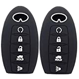 WFMJ 2Pcs Black Silicone Smart 5 Buttons Remote Key Chain Cover Case for Infiniti g35 qx56 fx35 q50 g37 m35 qx60 i35 qx80 q60 qx30