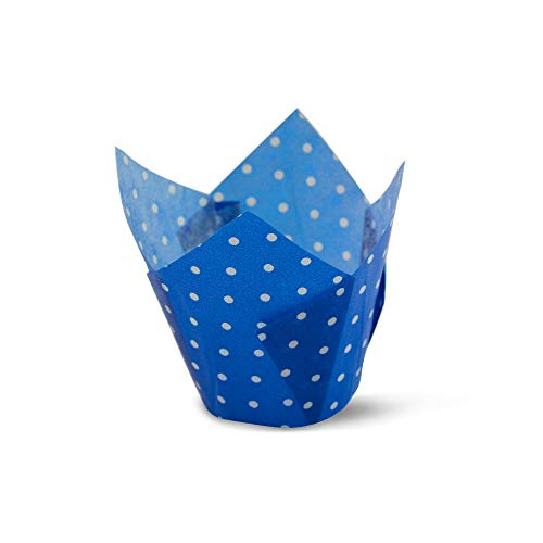Polka Dot Blue Tulip Baking Cups Cupcake Liners Muffin Liners Greaseproof Paper 100