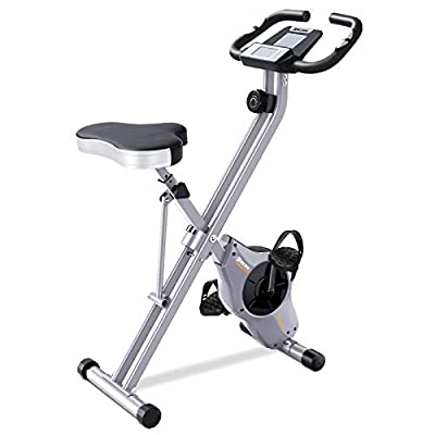 BCAN Folding Exercise Bike-Stationary Bike Foldable with Magnetic Resistance,Pulse Monitor and Comfortable Seat