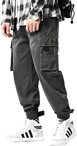 Pantalones cargo de algodón casual de los hombres Color sólido Multi-bolsillos Regualr Fit cintura elástica con cordón pantalones Jogger - gris - X-Large