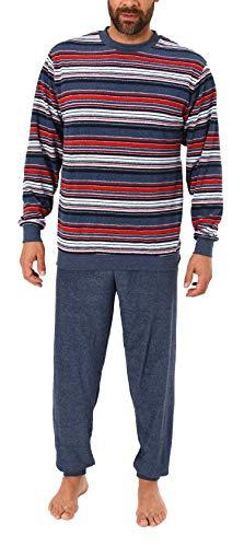 Eleganter Herren Frottee Pyjama Schlafanzug mit Bündchen, auch in Übergrößen - 281 101 93 003, Größe2:48, Farbe:blaumelange