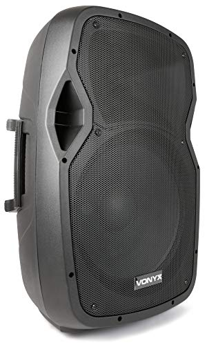 Vonyx AP1500 ABT aktive PA-Anlage PA Lautsprecher (300 Watt RMS, Bluetooth, Musik streamen, USB-Port, SD-Slot, MP3-Dateien, Line-Out, Standardflansch, Tragegriffe, Fernbedienung) schwarz