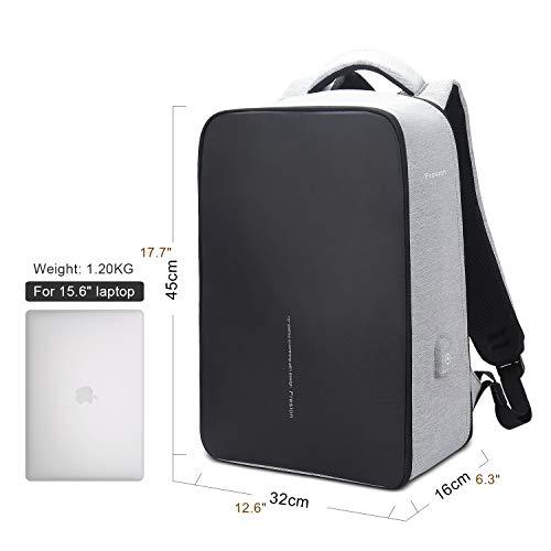 Fresion Laptop Rucksack für Herren, Business Reiserucksack - Stylischer Notebook Rucksäcke mit 2.0 USB Port, Rucksack für Arbeit groß Rucksack für 15,6 Zoll Laptops, Grau