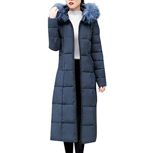 Manteau Chaud Doudoune Femme Long Veste Capuche Fourrure Faux Zippé Manches Longues Hiver Jacket Blouson Causal Marron Grande Taille