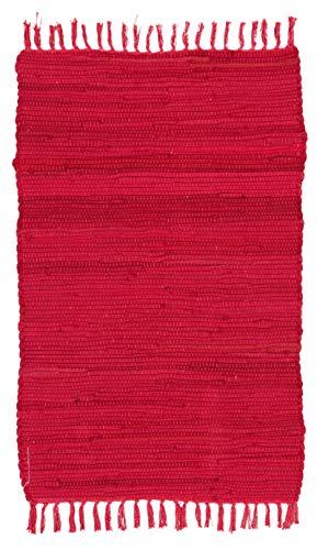 ABC Italia Italia Fleckerlteppich Läufer Reine Baumwolle 30C In Waschmaschine Waschbar, Größe:60 x 100 cm, Farbe: Rot