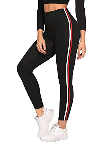 Fitg18® Gym wear Leggings Ankle Length Free Size Workout Trousers | Stretchable Striped Leggings | High Waist Sports Fitness Yoga Track Pants for Girls & Women (Free Size) (Black) (RED, Free Size)