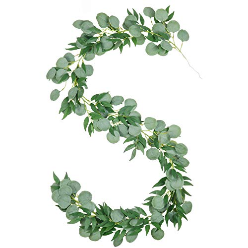 U'Artlines 5.9ft Faux Silver Dollar Eucalyptus and Willow Vines Twigs Leaves Garland Wedding Arch Swag Backdrop Garland Doorways Greenery Garland