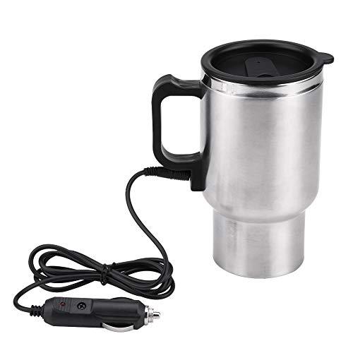 Solomi Auto-Heizbecher - Auto-Wasserkocher, Edelstahl Elektro-Auto-Heizbecher for Kaffee, Tee, Wasser 450ml 12V