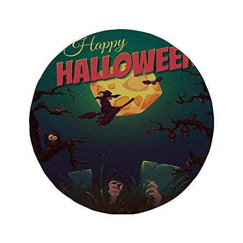 Rutschfeste Gummi-Runde Mauspad Halloween Happy Halloween Poster Design Hexe auf Besen Pilz Dead Resurgence Vintage dekorativ mehrfarbig 7,87 'x 7,87' x3MM
