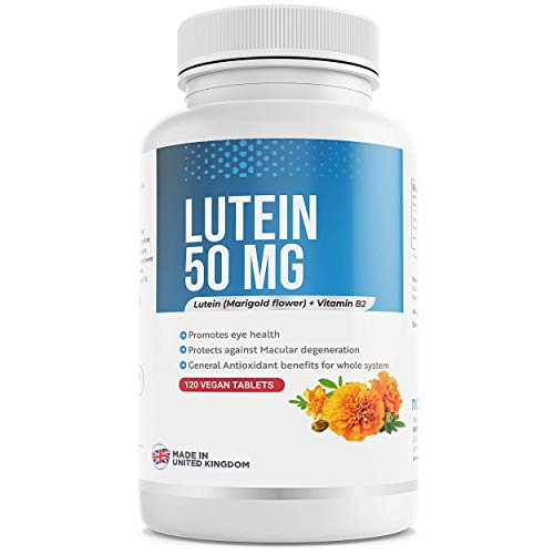 Lutein 50mg Plus Vitamin B2 - Eye Health Complex - 120 Tablets - Made in UK - Vegan Friendly
