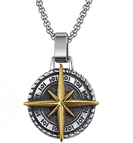 CCXXYANG Co.,ltd Necklace Stainless Steel Vintage Navigation Compass Cross Pendant Necklace Gold Adventure Courage Necklaces Jewellery Gift for Him 60Cm