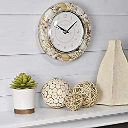 FirsTime & Co. Clear Seashells Wall Clock, 7.5, Tan/White