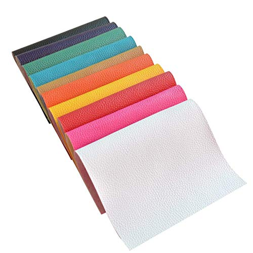 10 Pieces A4 Size 8x12 Inch 1.6MM Thick Solid Color Litchi Grain Texture Faux Leather Fabric Sheets Cotton Back for Hair Bows Making, Hair Clips Making, Headband Making,10 Colors Each Color one Sheet