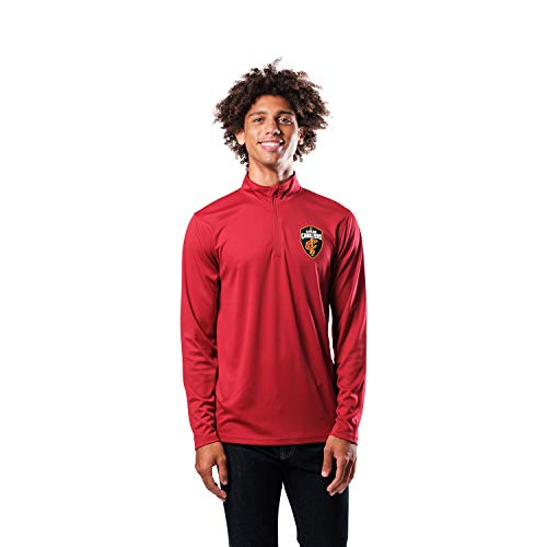 Ultra Game NBA Cleveland Cavaliers Mens Quarter-Zip Pullover Active Shirt, Team Color, Small