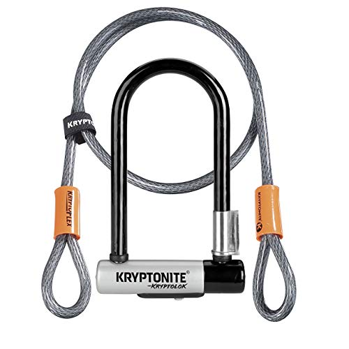 Kryptonite (001973/001683 ANTIRROBO U KRYPTOLOK Mini-7 w/Flex Cable Y FLEXFRAME Bracket (82x178) Candado, Calidad, Gris