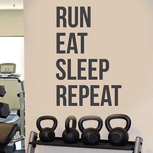 Courir Manger Dormir répéter Citation Salle de Sport Applique Murale Vinyle Fitness Exercice Motivation Exercice inspirant Post intérieur fresque 28x42cm