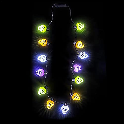 The Dreidel Company Halloween Light-Up Colorful Necklace, Costume Accessory, Party Favor, 25' (Multicolor Skull Necklace)