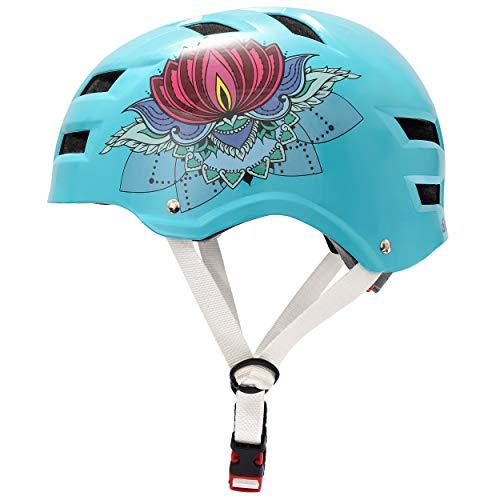 Skullcap® BMX Helm - Skaterhelm - Fahrradhelm - Herren Damen Jungs & Kinderhelm, Design Lotus-Blume, Größe L (58 – 61 cm)