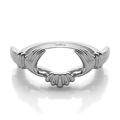 TwoBirch Sterling Silver Claddagh Celtic Style Ring Wrap Size 7