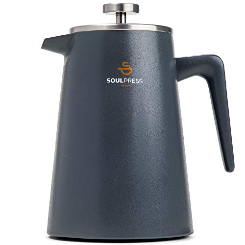Stainless Steel French Press, Grey, Double Wall Insulated Coffee Maker, Dual-Filter Screen, 34oz, Ergonomic Handle, French Press Coffee Accessories with Coffee Spoon & 2 Extra Screen Filters.