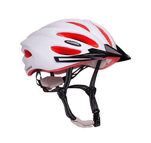 HUDORA Fahrrad-Helm Basalt Damen Herren, Fahrrad-Helm Rad-Helm Gr. 49-52, weiß/orange
