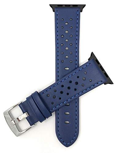 Bandini Correa de repuesto de piel para Apple Watch, compatible con Apple Watch Series 5, 4, 3, 2, 1 y correa iWatch – Rally ventilado – conector azul/negro – 38 mm / 40 mm