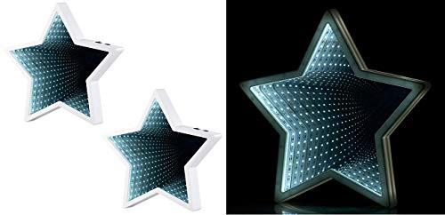 Lunartec Spiegel-Tischdeko: 2er Pack Sternförmiger Unendlichkeitsspiegel, 60 weiße LEDs, (Spiegel-Tischdekos)