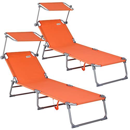 Deuba 2X Klappliege Hawaii orange - Sonnenliege Gartenliege Relaxliege Freizeitliege