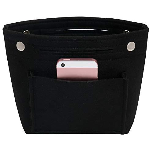VANCORE Felt Tote Handbag Purse Pocketbook Organizer Insert Divider Shaper Bag in Bag (Mini,Black)