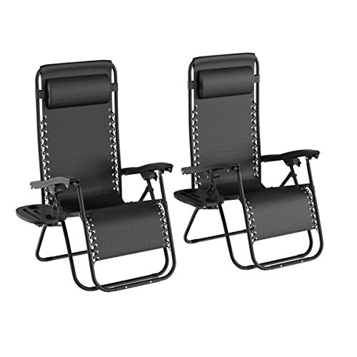 Lavish Home 80-ANTIG-3 Zero Gravity Lounge Chairs, Black