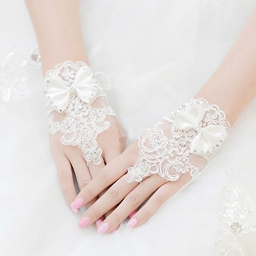 Sunward Bridal Gloves Wrist Flower Lace Diamond Wedding Gloves Dress Short Paragraph Mitts