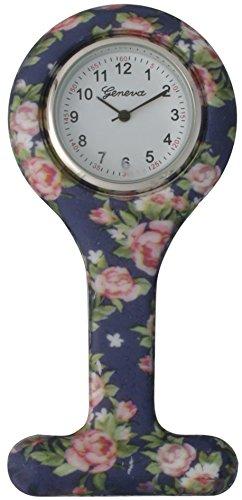 Geneva Nurse Watch Brooch Fob Silicone Leopard/Floral/Zebra/Strape Design Unisex (Floral - Blue)