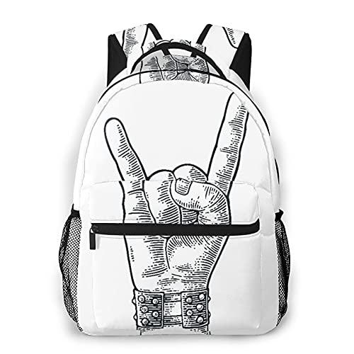 LUDOAN Mochila para portátil de viaje,letrero de mano de rock and roll,pulsera con pinchos de metal que le da el gesto de los cuernos del diablo,mochila antirrobo resistente al agua para empresas