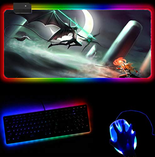 RGB Mouse Pad Bleach Gaming Mouse Pad Super Size Led Mouse Pad, Non-Slip Rubber Base Computer Mouse Pad A 2XL(40 X 90Cm)
