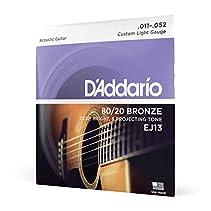 D'Addario EJ13 Satz Bronzesaiten (80/20) für Akustikgitarre 011' - 052'