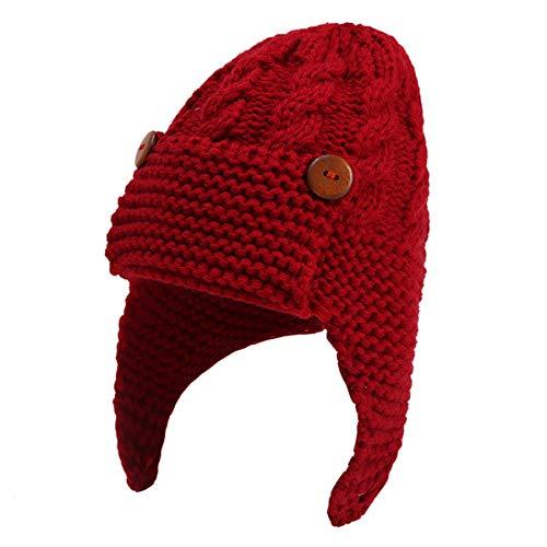 Hinzonek Sombrero con Orejeras para Bebé Gorro de Aviador Piloto Cálido de Invierno Gorro de Punto para Niños Pequeños para 0-3 Años