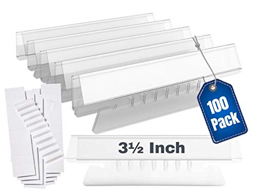 1InTheOffice Clear Hanging Folder Tabs, and Inserts 3-1/2' x 5/8', 100/Pack (3 1/2')
