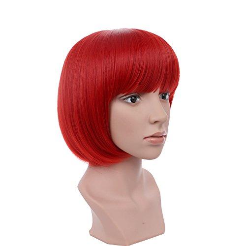 AYSAN Kurze Bob Gerade Perücken Mit Pony Rote Haare Volle Perücken für Frauen Cosplay Halloween Party (EINWEG)