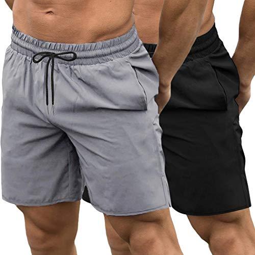 JINIDU Pack de 2 pantalones cortos de gimnasio para hombre, de secado rápido, para culturismo, entrenamiento, correr, correr, deportes, pantalones cortos con bolsillos negro / gris L