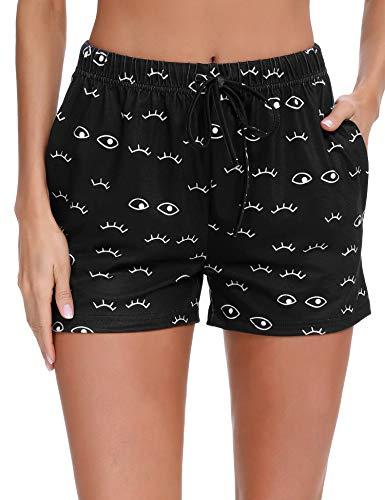 Doaraha Pantalón Corto para Mujer Pantalones Cortos de Pijama Casual Suave Ropa de Dormir Comodo y Suelto Pantalon de Casa Chándal Pant Cordón Ajustable (Negro, XL)