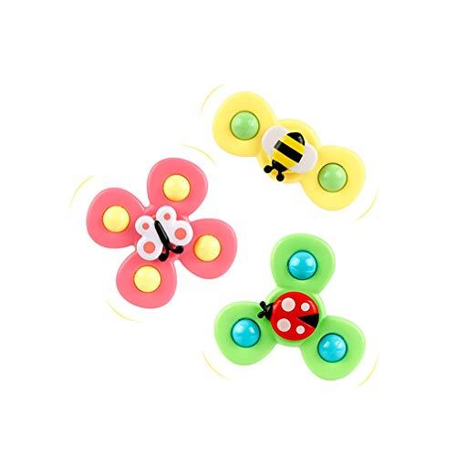 3pcs Spin Sucker Top Toy, Giocattolo a Ventosa Rotante, Cuscinetto in Nylon può Entrare in Acqua plastica Alimentare con Suono Early Learner Toys for Baby Kids Girls Boys Baby Toy