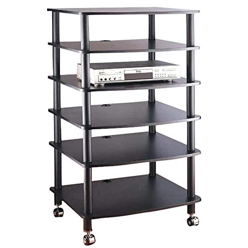 VTI AR406 6 Shelf Black Audio Rack-Black/Black