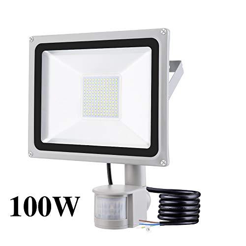 100W Foco LED con Sensor Movimiento, IP65 Impermeable 10000LM Super Brillante Foco LED Exterior 6500K Blanco Frío Foco Exterior para Jardín garaje Patio [Clase de eficiencia energética A+ ]