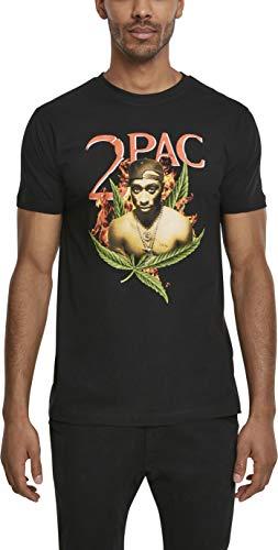 Mister Tee Herren Tupac Fireleaf T-Shirt, Black, L