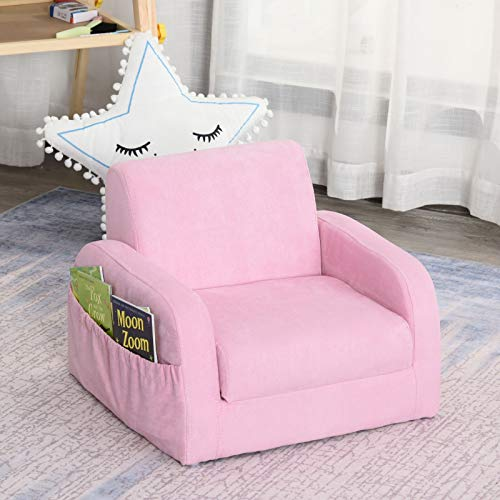 ADHW 2 In 1 Kids Sofa Armchair Chair Fold Out Flip Open Baby Bed Couch Toddler Sofa (Color : Pink)