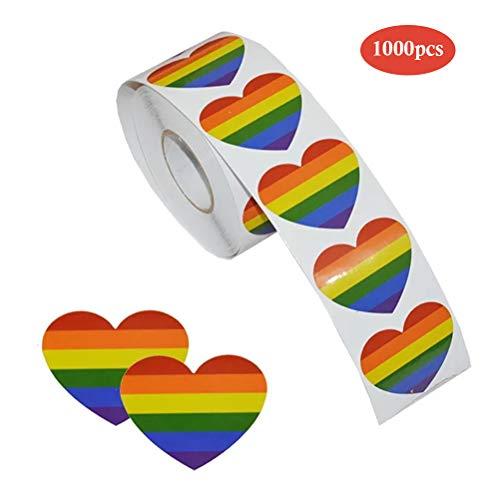 Kylewo Gay Pride Sticker - Liefde Regenboog Kleur Sticker op een Rol, Hartvormig, Voor Geschenken, Handwerken, Envelopafdichting (1000 Stickers)