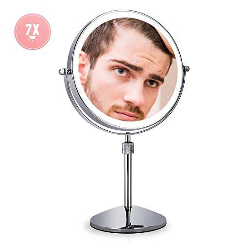 XIGG Miroir de Maquillage Double Face, Miroir de Table LED, Miroir Cosmétique sur Pieds, Tactile dimmable Hauteur Réglable, 7 Fois Grossissement, pour Vanité Voyage