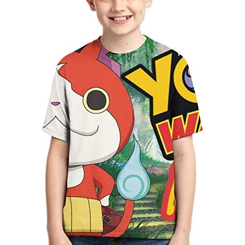 XCNGG Boy T-Shirt Yo-Kai Watch 3D Printed Teenage Youth Boys Girls Short Sleeves XL Black